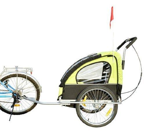 Homcom 5664-1099 2 in 1 Jogger Kinder Fahrradanhänger 5 Farben zur Auswahl Neu, grün / schwarz - 3