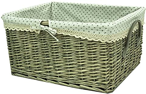 east2eden Driftwood Wash Wicker Willow Storage Hamper Basket with Grey Polka & Lace Edged Liner & Faux Leather Handle in Choice of Sizes and Deals (Large)