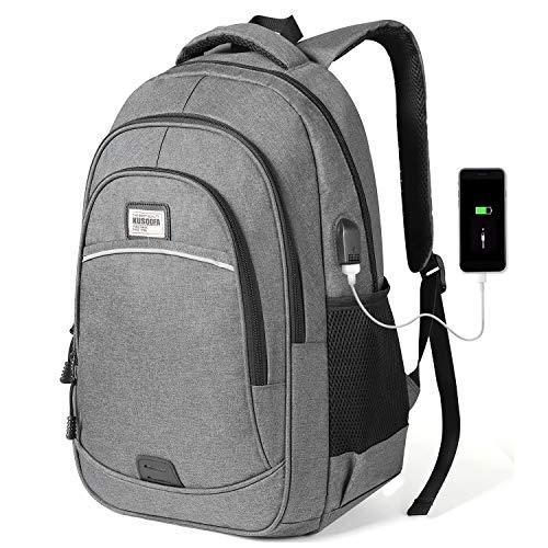 KUSOOFA Herren Rucksack, Business Laptop Rucksack, Studenten Wasserdicht Notebook Backpack, 15,6 Zoll Schulrucksack mit USB-Ladeanschluss, Vielen Taschen und Fächern (Grau)