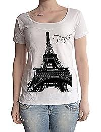 Paris Eiffel Tower, tee shirt femme, imprimé célébrité,Blanc, t shirt femme,cadeau