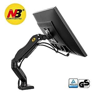 NB North Bayou F80 Noir - Support design professionnel pour écrans PC LCD LED 43-69 cm/17-27. Réglage dans plusieurs axes, pivot, qualité supérieure. Ressort à gaz. jusqu'à 6,5 kg