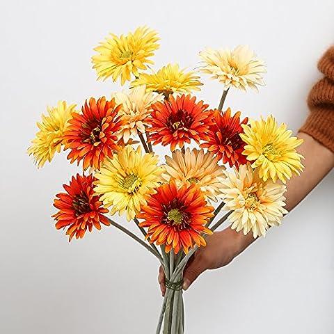 Natale ornamenti Home Arte della decorazione di simulazione artificiale Fiori Flora per feste di matrimonio e di ringraziamento dono 15 semi di girasole fiori di seta di Gerbera ornamenti floreali decorazione Soggiorno ornamenti DECORAZIONE TAVOLA ,15 arancione