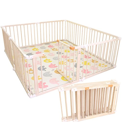 Recinto bambini Box di Sicurezza per Bambini Grande in Legno con cancello - Toddlers Baby Activity Area Fence, per Indoor Outdoor House, Altezza 66CM (Dimensioni : 120×150×66cm)