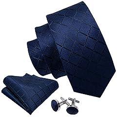 Idea Regalo - Barry.Wang, set di cravatta, gemelli e pochette da uomo, motivo a scacchi, materiale: seta Solid Blue Taglia unica