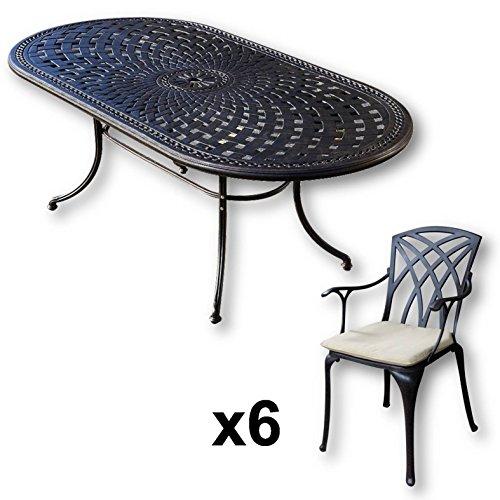 Lazy Susan - Table ovale 210 x 105 cm CATHERINE et 6 chaises de jardin - Salon de jardin en aluminium moulé, coloris Bronze ancien (chaises APRIL, coussins beiges)