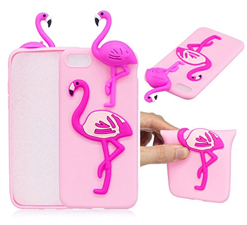 "iPhone 7 / iPhone 8 (4.7"") Hülle, BENKER Hochwertigem Neu Kreativ 3D Karikatur Durable TPU Silikon Kratzfeste Stoßfest Rutschfeste Handyhülle - Flamingo Flamingo"