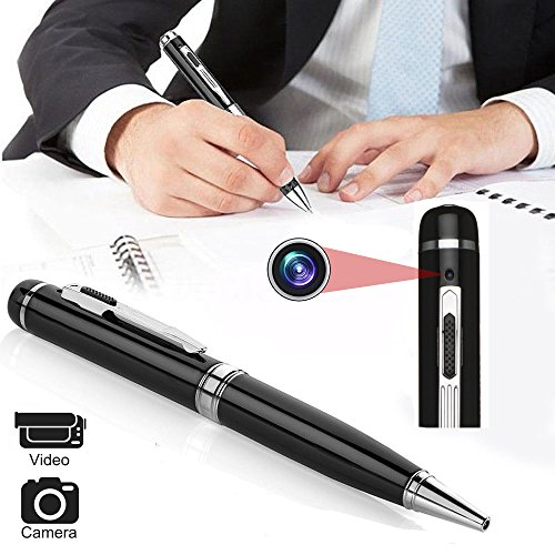 Spy-Camera-Pen-Bysameyee-Meeting-Grabadora-de-video-Spy-Camera-Pen-HD-1080P-Mini-cmara-porttil-DVR-Wireless-PenCam-Vigilancia-de-seguridad-videocmara-con-5-recargas-de-tinta-lector-de-tarjetas-OTG