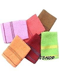 A'SHOP Women's and Kid's Soft Cotton Towel Hankies (Multicolour) - Set of 6