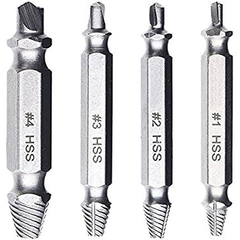 YOEEKU Extractor de Tornillos Velocidad de salida de 4 piezas de extractores de tornillos de perforación del taladro bits puestos de retirada de los tornillos rotos o