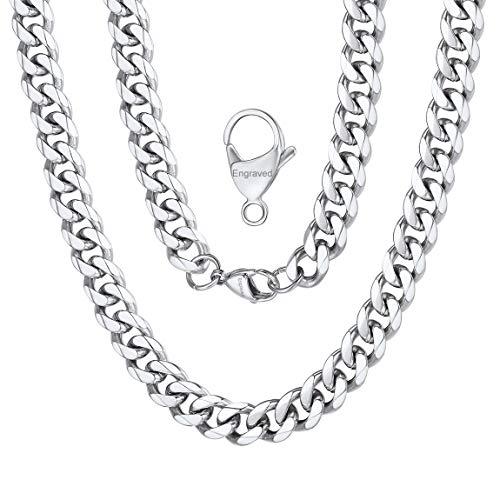 """ChainsPro Erbskette 925 Silber Edelstahl Weizenkette Halskette für Männer Frauen Schmuck Set 9mm in Breite, 22\"""""""