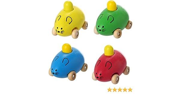 Fashion Creative Smart Gift Kids Child Baby Cute Mice Squeak Wooden Toy Car