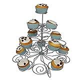 4-etagen Metall Cupcake Ständer von Kurtzy - Ausstellungs Stand für 23 Törtchen - Einfach zu Montierender Muffin Ständer - Drehbares und Rotierendes Design - Für Hochzeiten, Baby-Shower u. Partys