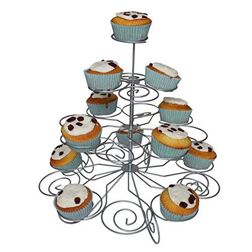 ll Cupcake Muffin Ständer mit 4 Etagen von Kurtzy - Hält 23 Törtchen - einfach zu montierender Ausstellungs-Stand - Drehbares und Rotierendes Design - für Hochzeiten, Baby Showers und Partys (Kunststoff 3-tier-kuchen-stand)