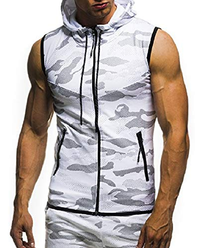 CuteRose Mens Sleeveless Athletic Camouflage Zipper Vests Hoodies Sweater White XL - Big Mens Down Vest