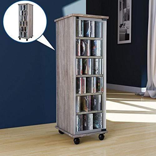 """VCM CD DVD Regal Turm Tower Vitrine Schrank Möbel mit Rollen Drehbar Farbwahl 98 x 31 x 35 cm \""""Valenza\"""""""