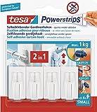 Tesa Powerstrips- Vario - Gardienenhaken weiß, Set: 4 Haken, 6 Strips