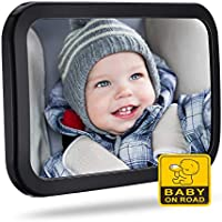 Baby Car Mirror for Back Seat, OMORC (Upgraded Version) Rear View Car Seat Mirror - Safest Shatterproof Infant Mirror to See Rear Facing Infants, Kids and Child