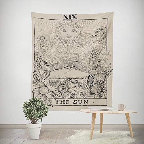 Qmber 2019 Indian Tapisserie Wandbehang Wandteppiche Mandala Tuch Wandtuch Gobelin Tapestry Hippie Boho Stil mit Sign Chakra Kunstdruck Tarot Tapices Tunika Tischdecke/C,150X100CM -