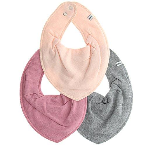 Pippi 3er Pack Baby Mädchen Halstuch, Farbe: Rosa und Grau, One Size, 4449