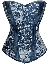 Valin Vintage Character Printing sans bretelles Bustiers et corsets,bleu