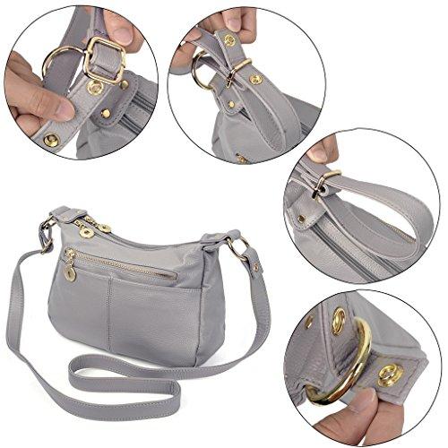 UTO Damen Handtasche PU Leder klein Purse Hobo Stil Schultertasche grau grau