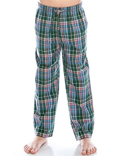 TINFL Jungen Plaid Check Soft 100% Baumwolle Flannell Pyjama Hose PB-11-Green-YXL