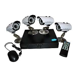 Shopinnov Kit de surveillance extérieur : 4 cameras IP + enregistreur DVR 500Go