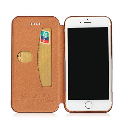 """MOONCASE iPhone 6S Coque, Litchi Skin UltraSlim Housse en Cuir Premium Etui à rabat pour iPhone 6 6S 4.7"""" Bookstyle de Protection Porte-cartes Case Rouge Noir"""