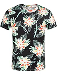 SSLR Men's Printed Crew Neck Short Sleeve Casual Aloha Hawaiian T-Shirt