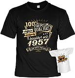Geburtstag T-Shirt 60 Jahre - 100% Premium Qualität seit 1957 Shirt 4 Heroes bedruckt Geschenk-Set mit Mini Flaschenshirt
