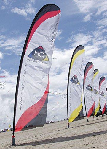 Windworks HQ Beach Flag rot (5m) Polyestertuch komplett Banner Angelrute Bodenanker Tasche