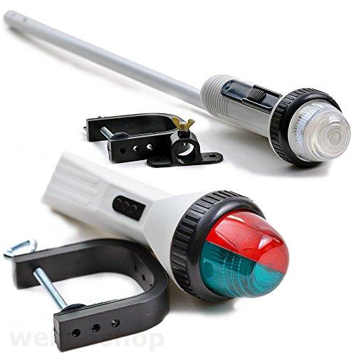 wellenshop Zwei-Farben-Navigationslicht Positionslicht + Klemmhalterung & Batteriebetrieb