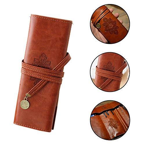 Retro Estuche de piel de café papelería bolígrafo rollo bolsa de almacenamiento, gran regalo para escritores, estudiantes y artistas