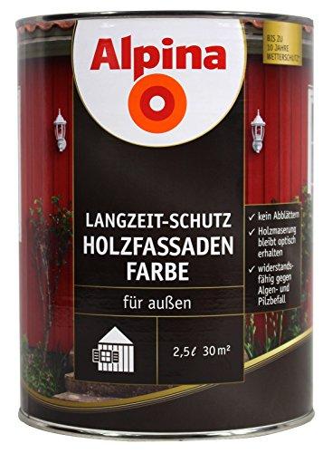 Alpina Holzfassadenfarbe, 2,5 l - Weiß - Wetterschutzfarbe für Außen