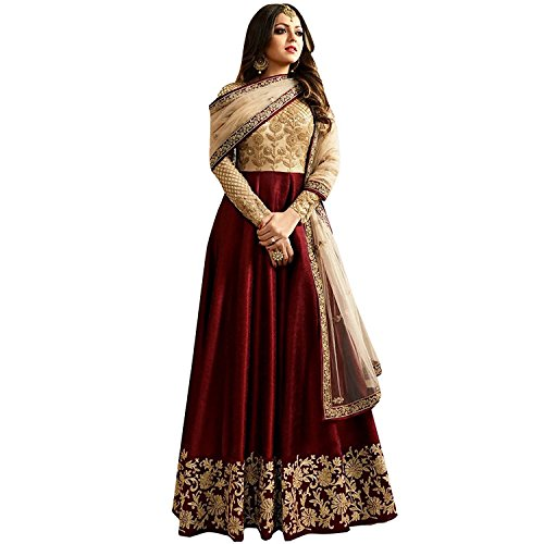 Aryan Fashion Women's Banglory Silk And Net Anarkali Semi-Stitched Salwar Suit Dress...