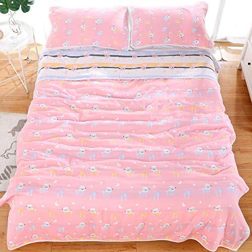 Sommer Quilt Baumwolle Sechslagige Gaze Einzelne Doppel Sommer Weiche Abdeckung Decke Klimaanlage Decke 180X220 Mond Hund Pulver Bettwäsche Cashmere-gaze