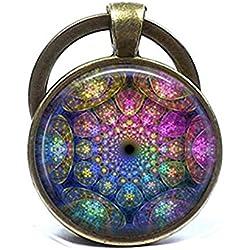 Fractal abstracto Mandala llavero joyas, bañado en bronce llavero, curación espiritual Yoga clave Anillo Joyería Joyas Azul Púrpura Rosa