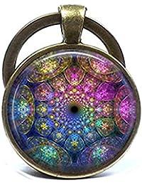 Fractal abstracto colgante Mandala, en bronce, curación espiritual Yoga Joyería Joyas Azul Púrpura Rosa