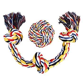 Corde de coton pour Chien Chat Jouet pour Chien Rsistant aux Morsures avec Corde en Coton Durable Fait 3cm De Diamtres, 3 Nuds Font 58cm De Long et 10cm De Diamtres + Boule 230g