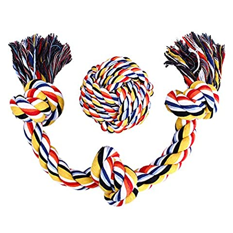 Dog Rope Toy Cotton Blend 3-Knot Tug Chew Toys +