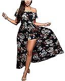 BIUBIU Damen Schulterfrei Strand Spielanzug Boho Blumendruck party Kleid Große Größen Schwarz DE 36