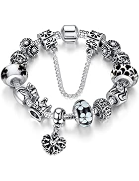 A TE® Armband Charms Blumen Glasperlen Herz Armbandanhänger Damen Geschenk #JW-B110