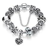 A TE® Armband Charms Blumen Glasperlen Herz Armbandanhänger Damen Geschenk 18cm #JW-B110 (Schwarz 18cm)