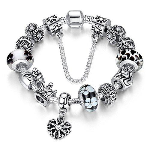 """A TE® Bracciale Charms """"Fiore"""" Vetro beads queen Catena Sicurezza Regalo Donna #JW-B110 (Nero)"""