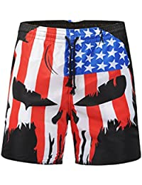 VORCOOL Pantalones de Playa 3D National Flag Skull Head Youth Large Size Quick-Drying