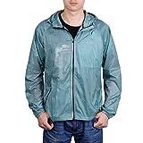 Motorun Herren Regenjacke Radfahr-/Lauf-Jacke;Winddicht Fahrradfahren;langärmelig;Schützt vor Wind und Regen;Schnelltrocknend;Blau L