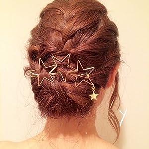 Damen Haarnadeln Haarklammer Openwork Fünfzackiger Stern Haarspiralen Quasten Haarspange Haarschmuck Kopfschmuck, Gold