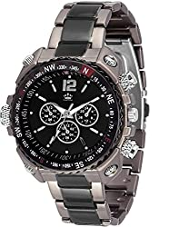 LimeStone ~Nextra M7~Round Casual Analog Silver Stainless Steel & Black Dial Men's / Boy's Wrist Watch - LS2627