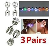 uchic 3pares/6pieces pendientes studs pendientes de luz con luces LED para Halloween, Navidad, recuerdo de la fiesta (color al azar)