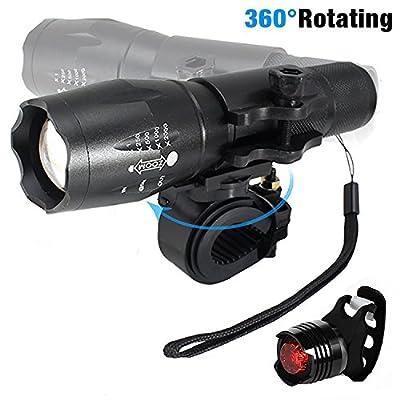 LED Fahrradbeleuchtung, 1000 Lumen 3 Licht-Modi LED Fahrradbeleuchtung Frontlichter und Rücklicht, Halterung, Zoombarer Effekt für Berg-Radfahren, Camping und täglichen Gebrauch,